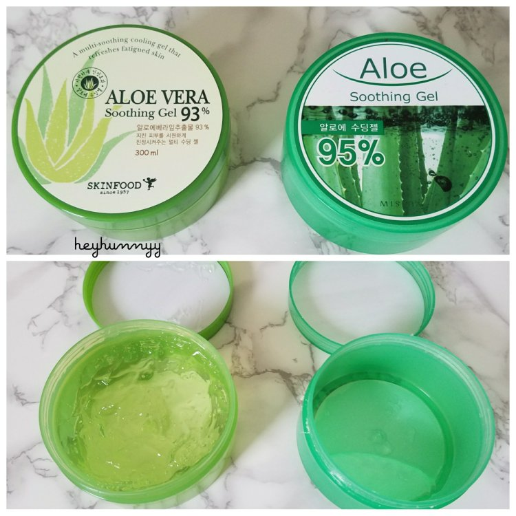 Skinfood Aloe Vera Soothing Gel 93% and Missha Aloe Soothing Gel 95%